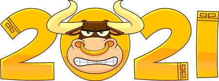 2021 Year Of The Ox Numbers With Bull Face Cartoon Character. Vector Illustration Isolated On Transparent Background 向量圖像