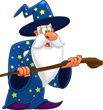 Old Wizard Cartoon Character With A Cane Making Magic. Vector Illustration Isolated On White Background 向量圖像