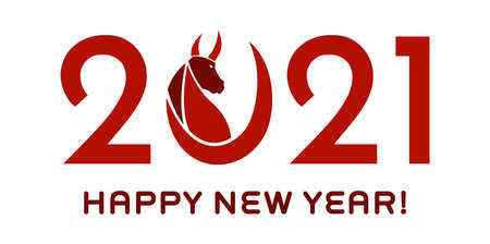 Red 2021 Year Of The Ox Numbers With Bull Face Silhouette. Vector Illustration Isolated On Transparent Background