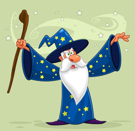 Old Wizard Cartoon Character With A Cane Making Magic. Vector Illustration With Background