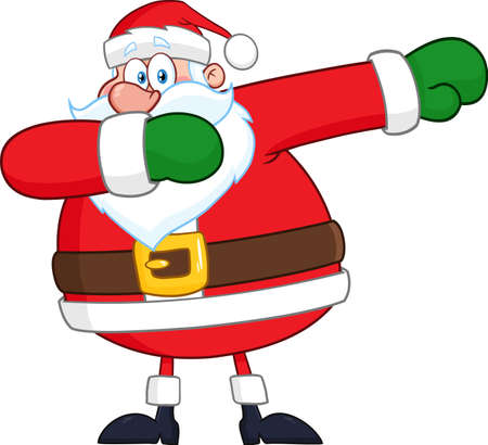 Santa Claus Cartoon Character Dabbing. Vector Illustration Isolated On White Background