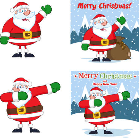 Santa Claus Cartoon Character. Vector Collection Set Isolated On White Background 向量圖像