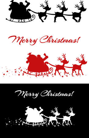 Santa And A Reindeers Flying In A Sleigh Silhouettes. Vector Collection Set Isolated On White Background 向量圖像