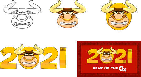 2021 Year Of The Ox Numbers With Bull Face Cartoon Character. Vector Collection Set Isolated On White Background