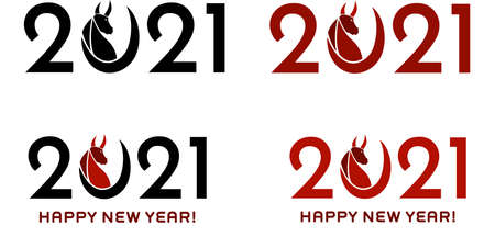 2021 Year Of The Ox Numbers With Bull Face Silhouette. Vector Collection Set Isolated On White Background 向量圖像