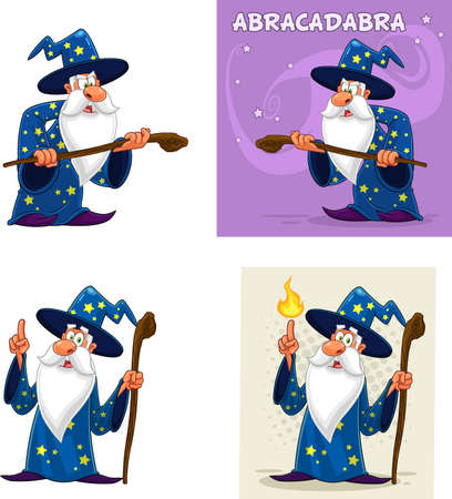 Old Wizard Cartoon Character. Vector Collection Set Isolated On White Background 向量圖像