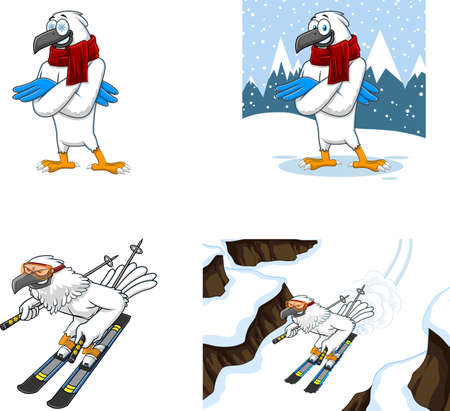 Winter Hawk Bird Cute Cartoon Characters. Vector Collection Set Isolated On White Background