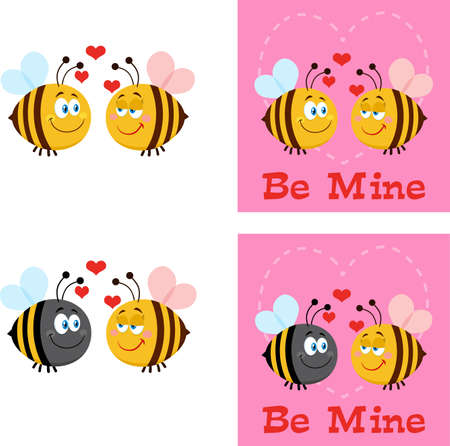 Bee Cartoon Characters. Flat Vector Collection Set Isolated On White Background
