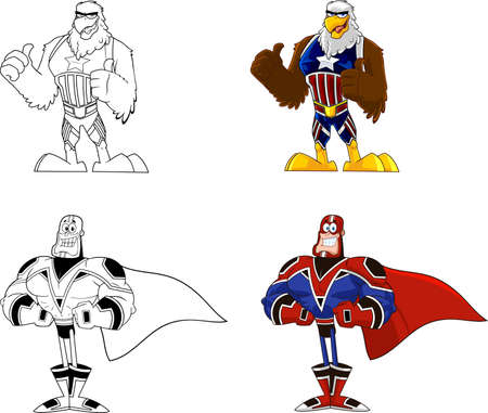 Super Hero Cartoon Characters. Vector Collection Set Isolated On White Background Ilustracja