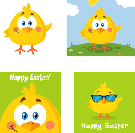 Yellow Chick Cartoon Character. Vector Collection Set Isolated On White Background Ilustracja
