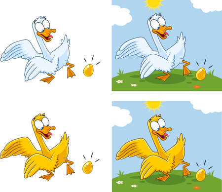 Goose Cartoon Characters With Egg. Vector Collection Set Isolated On White Background