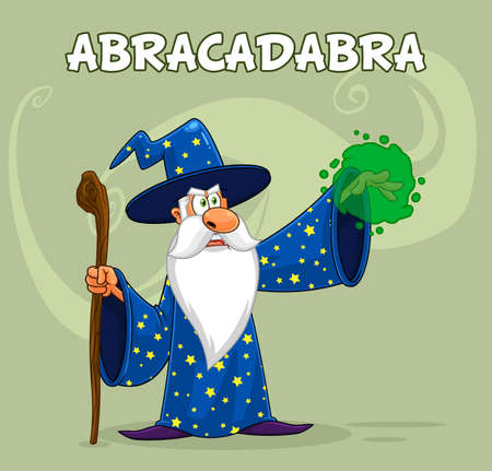 Wizard Cartoon Character With A Cane Making Magic. Vector Illustration With Background And Text