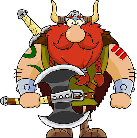 Viking Cartoon Character Holding A Big Axe. Vector Illustration Isolated On Transparent Background Ilustración de vector