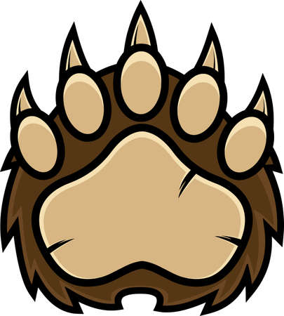 Bear Paw With Claws Print Design. Vector Illustration Isolated On White Background