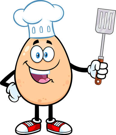 Egg Chef Cartoon Mascot Character Holding A Spatula. Vector Illustration Isolated On White Background