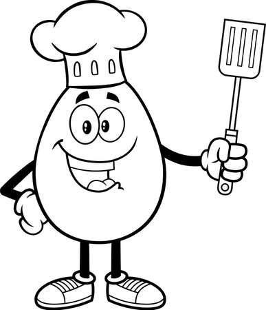 Outlined Egg Chef Cartoon Mascot Character Holding A Spatula. Vector Illustration Isolated On White Background 向量圖像