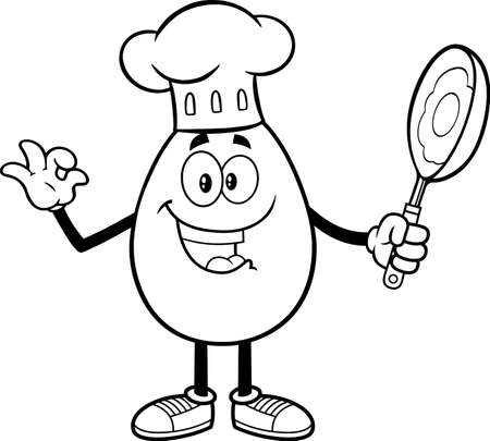 Outlined Egg Chef Cartoon Character Gesturing Ok And Holding A Frying Pan. Vector Illustration Isolated On White Background