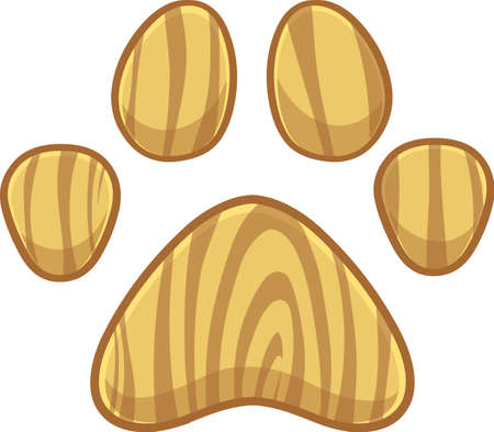 Wooden Dog Or Cat Paw Print Logo Design. Vector Illustration Isolated On White Background