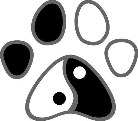 Yin Yang Dog Or Cat Paw Print Logo Design. Vector Illustration Isolated On White Background