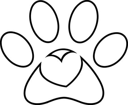 Outlined Love Paw Print Logo Design With Heart. Vector Illustration Isolated On White Background 向量圖像