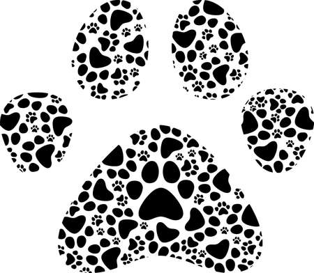 Spotted Dog Or Cat Paw Print Logo Design. Vector Illustration Isolated On White Background 向量圖像