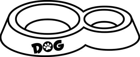Outlined Cartoon Dog Bowl Hand Drawing. Vector Illustration Isolated On White Background