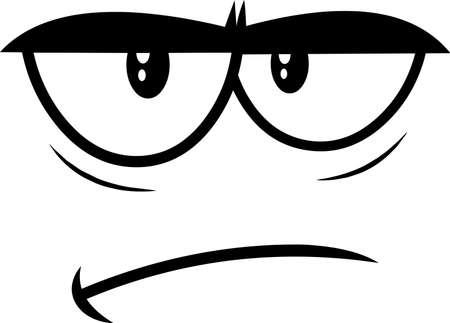 Outlined Grumpy Cartoon Funny Face With Sadness Expression. Vector Illustration Isolated On White Background 向量圖像