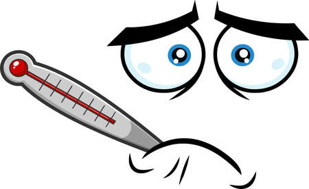 Sick Cartoon Funny Face With Tired Expression And Thermometer. Vector Illustration Isolated On White Background