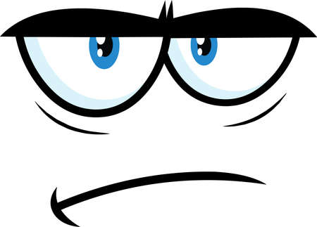 Grumpy Cartoon Funny Face With Sadness Expression. Vector Illustration Isolated On White Background