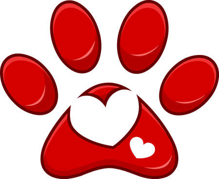 Love Paw Print Logo Design With Heart. Vector Illustration Isolated On White Background