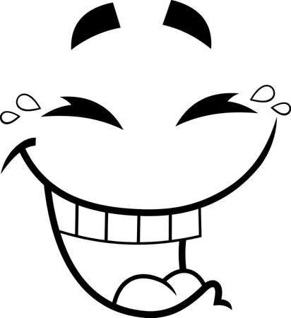 Outlined Laugh Cartoon Funny Face With Smiley Expression. Vector Illustration Isolated On White Background