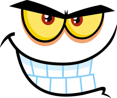 Evil Cartoon Funny Face With Bitchy Expression And Gnash Teeth. Vector Illustration Isolated On White Background