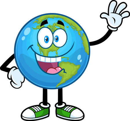Happy Earth Globe Cartoon Character Waving For Greeting. Vector Hand Drawn Illustration Isolated On Transparent Background 向量圖像