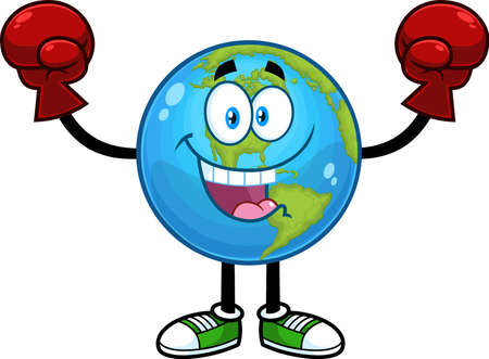 Happy Earth Globe Cartoon Character Wearing Boxing Gloves. Vector Hand Drawn Illustration Isolated On Transparent Background
