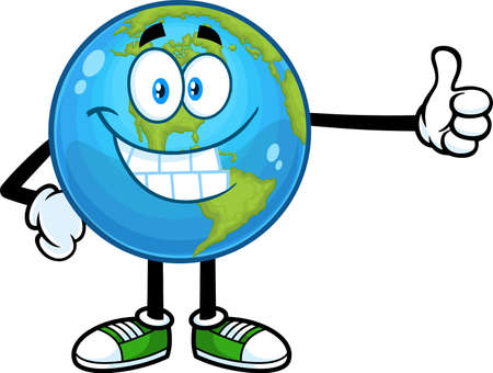 Smiling Earth Globe Cartoon Character Showing Thumbs Up. Vector Hand Drawn Illustration Isolated On Transparent Background 向量圖像