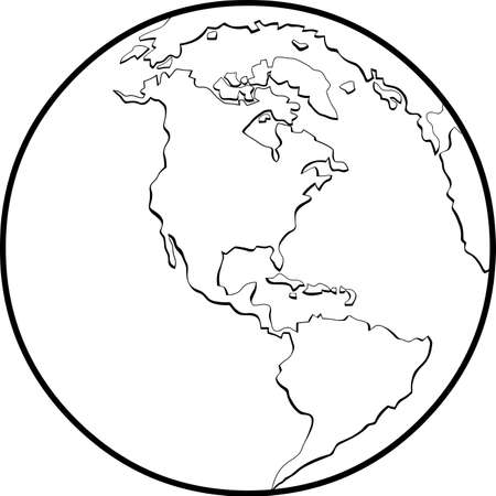Outlined Earth Globe Hand Drawn Cartoon. Vector Illustration Isolated On White Background