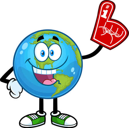 Happy Earth Globe Cartoon Character Wearing A Foam Finger. Vector Hand Drawn Illustration Isolated On Transparent Background