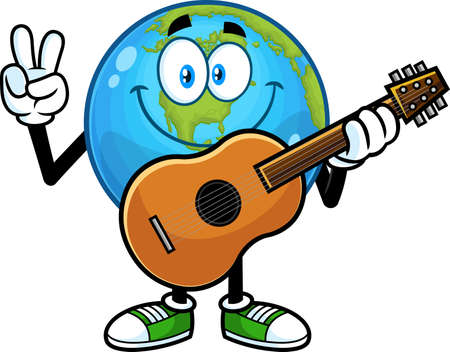 Smiling Earth Globe Cartoon Character With Guitar Showing Peace Hand Sign. Vector Hand Drawn Illustration Isolated On Transparent Background