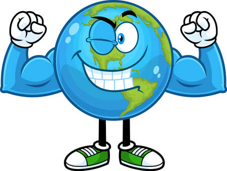 Smiling Earth Globe Cartoon Character Winking And Showing Muscle Arms. Vector Hand Drawn Illustration Isolated On Transparent Background