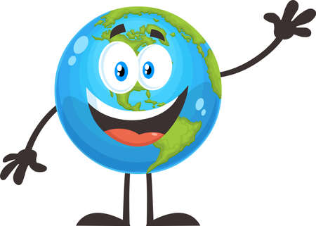 Happy Earth Globe Cartoon Character Waving For Greeting. Vector Flat Design Illustration Isolated On White Background