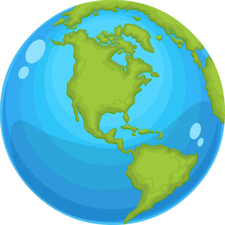 Earth Globe Hand Drawn Cartoon. Vector Flat Design Illustration Isolated On White Background