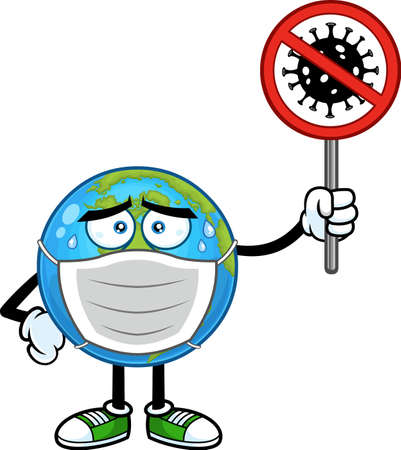 Sick Earth Globe Cartoon Character With Face Mask Holding A Stop Sign. Vector Hand Drawn Illustration Isolated On Transparent Background