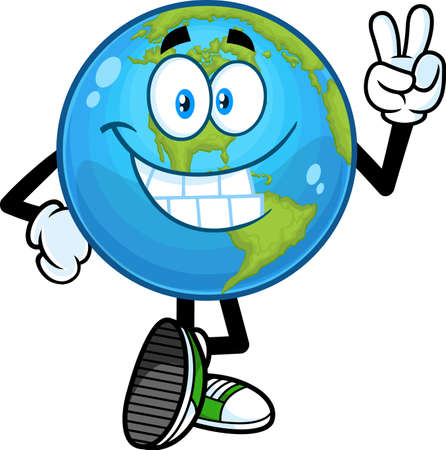 Smiling Earth Globe Cartoon Character Showing Peace Hand Sign. Vector Hand Drawn Illustration Isolated On Transparent Background