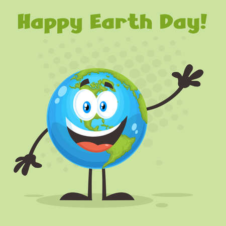 Happy Earth Globe Cartoon Character Waving For Greeting. Vector Flat Design Illustration With Background And Text