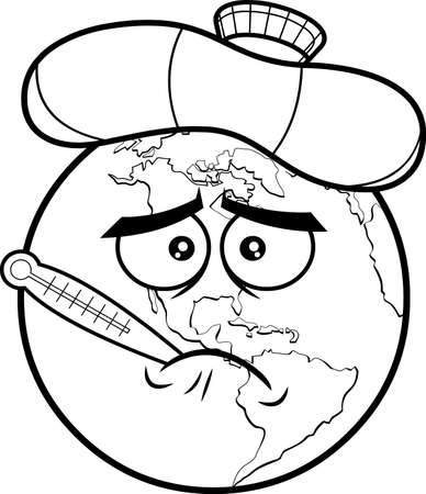Outlined Sick Earth Globe Cartoon Character With Thermometer And Ice Bag. Vector Hand Drawn Illustration Isolated On Transparent Background