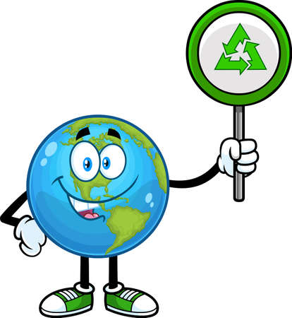Earth Globe Cartoon Character Holding Up A Recycle Sign. Vector Hand Drawn Illustration Isolated On Transparent Background 向量圖像