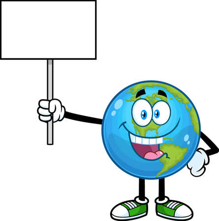 Cute Earth Globe Cartoon Character Holding A Blank Sign. Vector Hand Drawn Illustration Isolated On Transparent Background 向量圖像