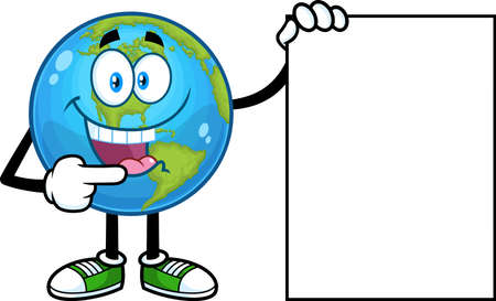 Cute Earth Globe Cartoon Character Pointing To A Blank Sign. Vector Hand Drawn Illustration Isolated On Transparent Background 向量圖像