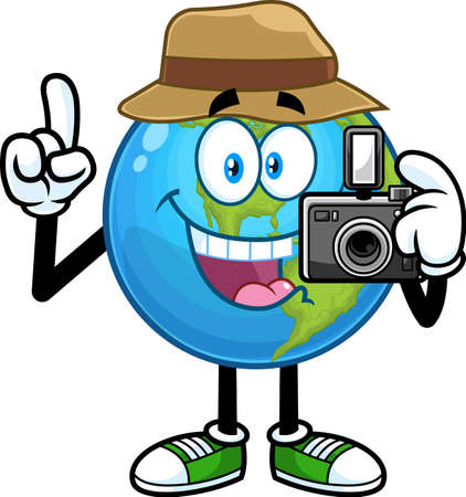 Tourist Earth Globe Cartoon Character Holding Digital Camera. Vector Hand Drawn Illustration Isolated On Transparent Background