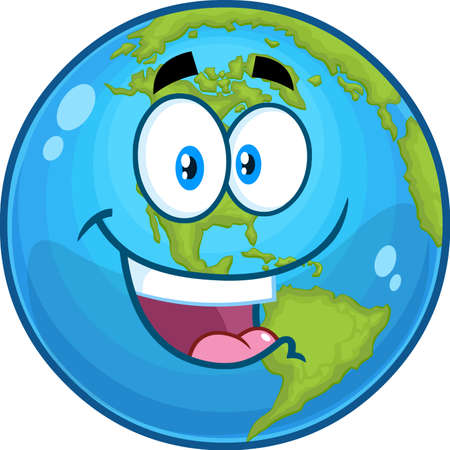 Outlined Happy Earth Globe Cartoon Character. Vector Hand Drawn Illustration Isolated On Transparent Background